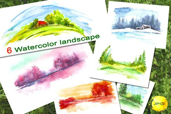 A set of watercolor landscapes. by helgafo on @creativemarket