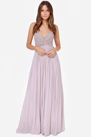 Blooming Prairie Crocheted Dusty Lavender Maxi Dress at LuLus.com!  $54   Ruby?