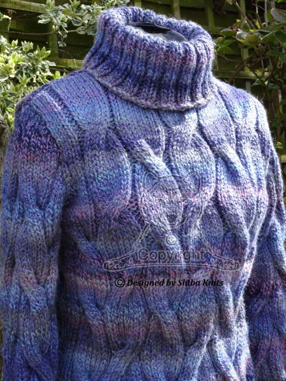 Hand Knitted Chunky Cabled Polo Jumper/Sweater by ShibaKnits