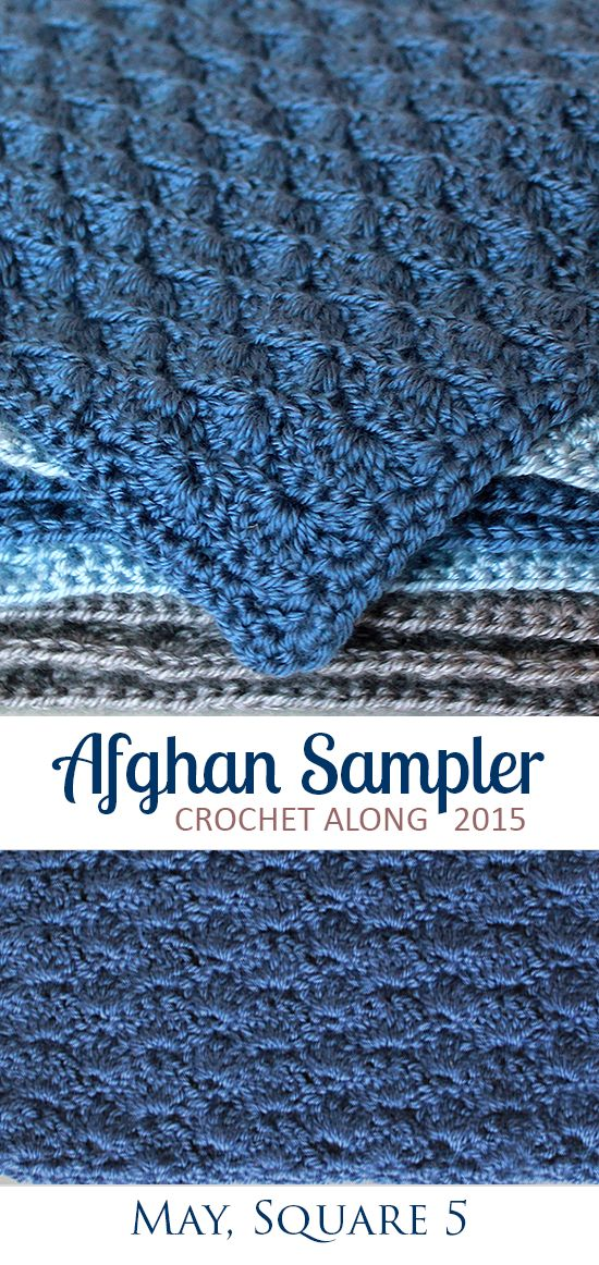 Solid Scallop: Square 5 (May) of the 2015 Afghan Sampler -- Crochet along and have a finished blanket at the end of the year! | The Inspired Wren EDIT: chain 44 instead of 38 for 11' square