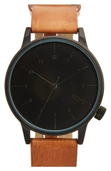 KOMONO 'Winston' Round Dial Leather Strap Watch, 40mm available at #Nordstrom
