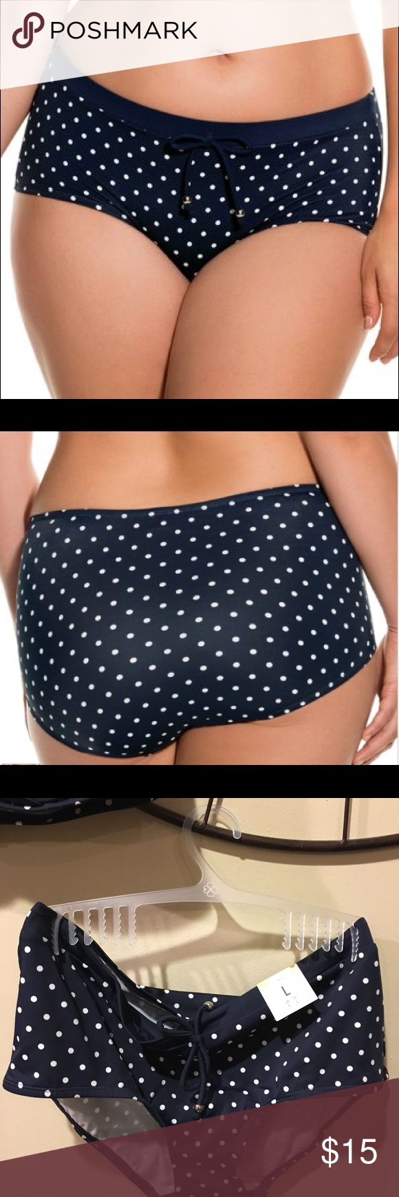 NWT Dorina High Waist Palm Springs Bikini Bottoms Navy Polka Dot bikini bottoms with high waist and body shaping panels. 80% polyester 20% elastane. Imported. Bundle with top for additional discount! Dorina Swim Bikinis