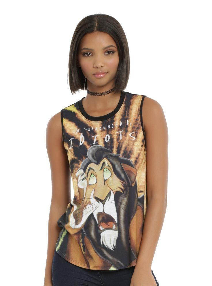 Disney The Lion King Scar Girls Muscle Top, BLACK