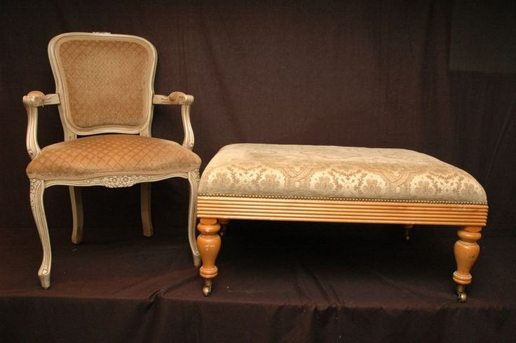 Arm chair and upholstered ottoman on wheels 40x28x18