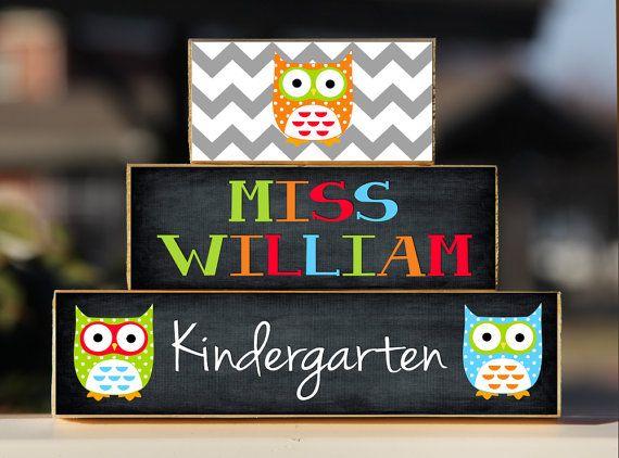 Owl Teacher Sign Back to School Custom Personalized -Trio Wood Blocks Stack - Classroom Decor/Gift - Wooden Block