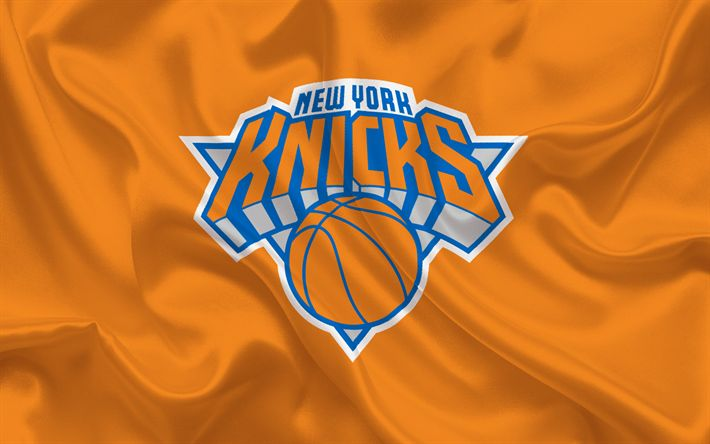Download wallpapers New York Knicks, NBA, New York, USA, basketball, emblem, logo, red silk, Basketball club, orange silk
