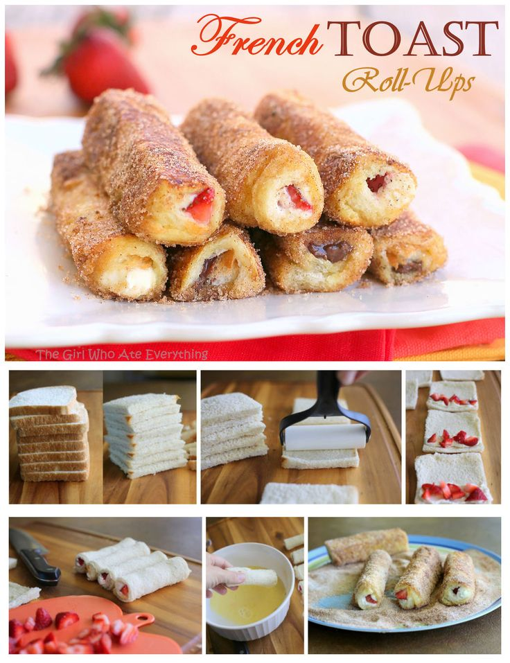 Strawberry cream cheese French toast rolls - everyone in my family LOVED them. The trick to keeping them rolled is getting them super flat. We used frozen strawberries in Splenda (thawed) instead of fresh, the added sweetness was perfect.