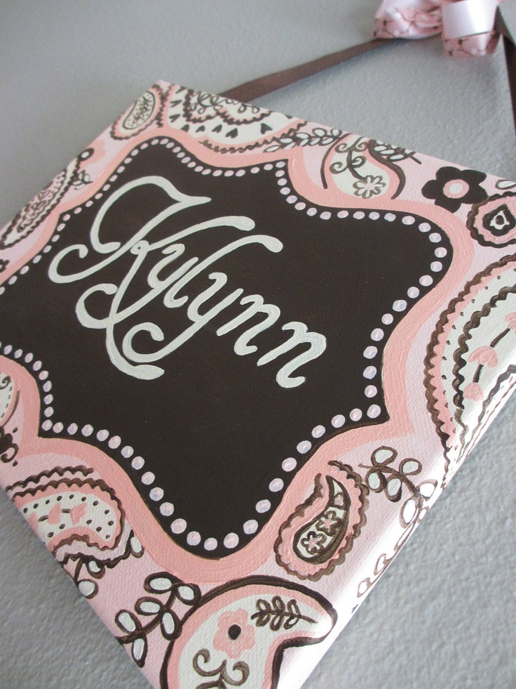 Pink and Brown Paisley Name Plaque/Sign for by KraftinMommy, $37.00