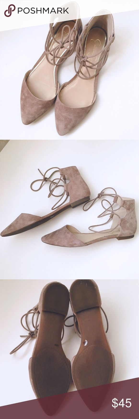 lace up flats. pointy toe suede flats, with lace ups. Barely used, slight stains on the inside heel. No stains on outside. Jessica Simpson Shoes Flats & Loafers
