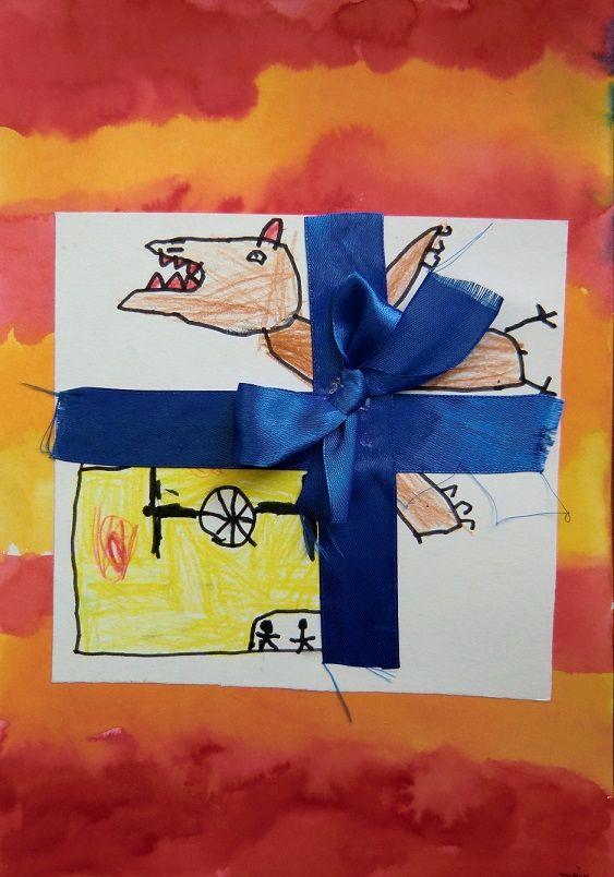CO SI PŘEJU K VÁNOCŮM -výtvarné ztvárnění vlastního přání:   kombinovaná technika (kresba fixy, pastelkami, malba akvarelem, práce se stužkou)