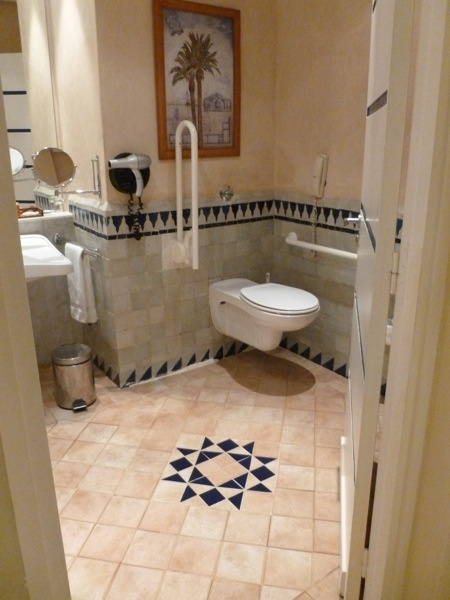 Wheelchair accessible bathrooms in Essaouira, Morocco!  Wall mount toilet