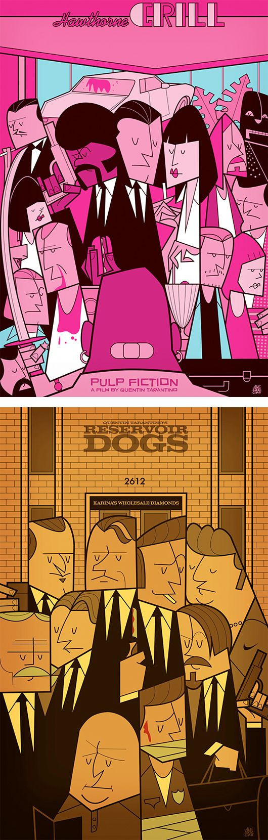 Pulp Fiction & Reservoir Dogs - Illustrations by Ale Giorgini