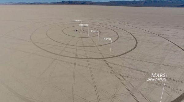 Vídeo del Sistema Solar a escala en un desierto de Nevada