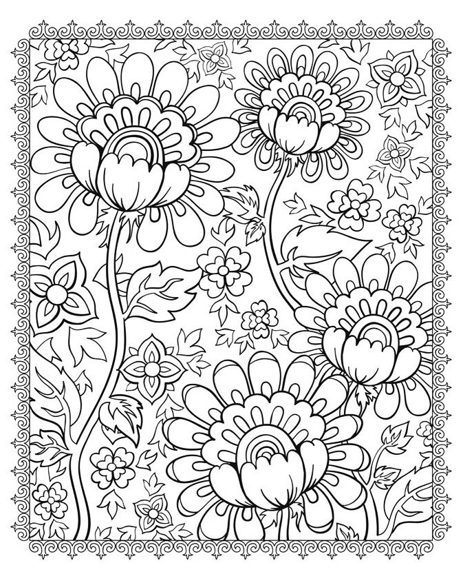 Complex Coloring Page For Kids With Magnificent Flowers From The Gallery