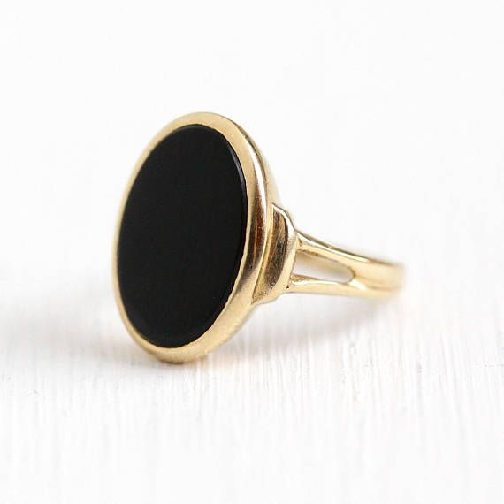 2a52ca8c2 Vintage Onyx Ring - 14k Yellow Gold Black Onyx Gem - 1980s Size 3 3/4 Oval  Dark Gemstone Dated 1986 Fine Jewelry Signed B&F Baden and Foss by Maejean  ...