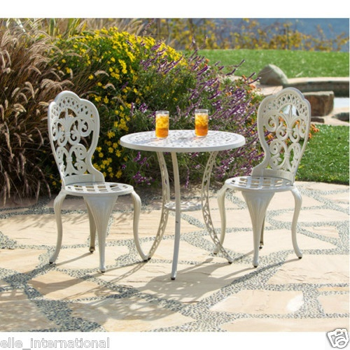 Outdoor French Styled Table Chairs in Sand Beige Cast Aluminum New Free SHIP | eBay