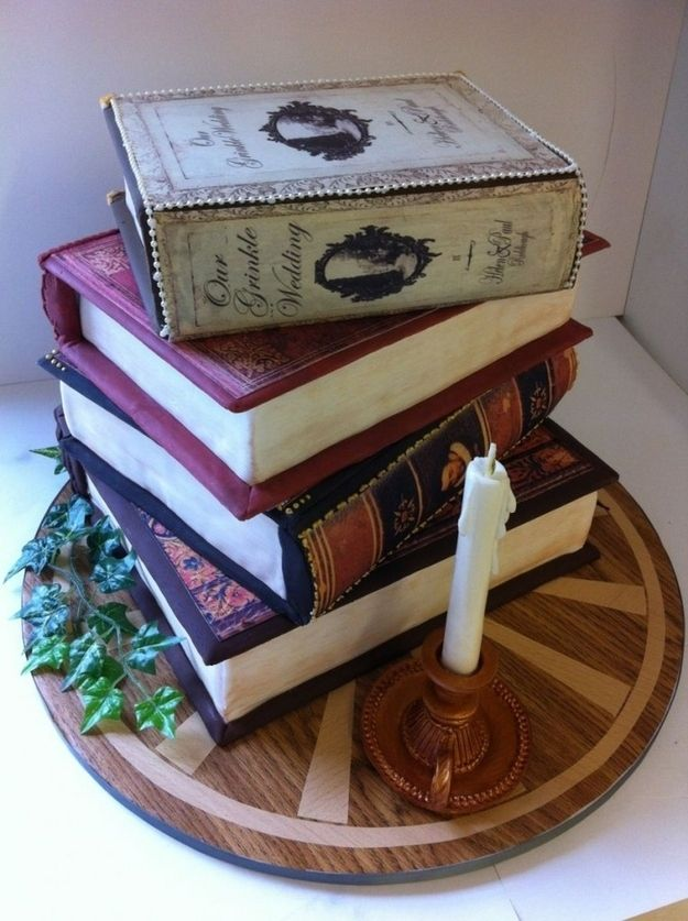 Vintage Books Wedding Cake: such a neat idea! Hopefully whoever I marry someday will love some of the same books I do; perhaps we could have those titles on the cake. ^_^