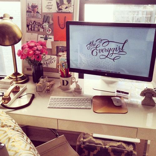 girly-girl office - love the brass lamp
