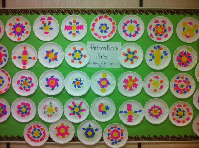 Symmetry: Pattern Block Plates -- Math Art Grade 2