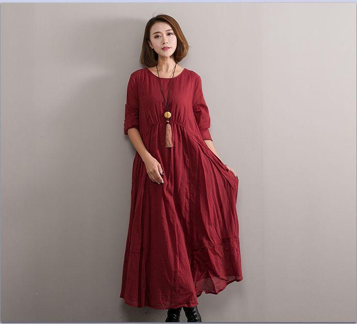 Купить Старинные большие дно сплошные цвета хлопок белье платья для женщин Весна осень осень свободные повседневные платья Классическая одежда 86105и другие товары категории Платьяв магазине NINI'S CLUBнаAliExpress. Платья