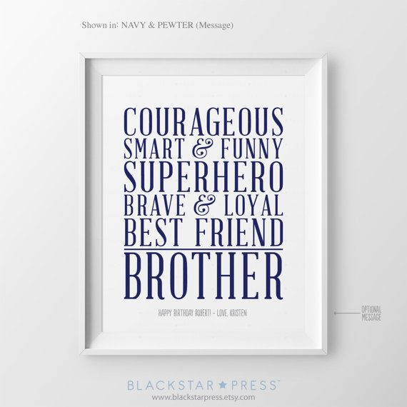 Christmas Gift for Brother Personalized Gift for by BlackstarPress