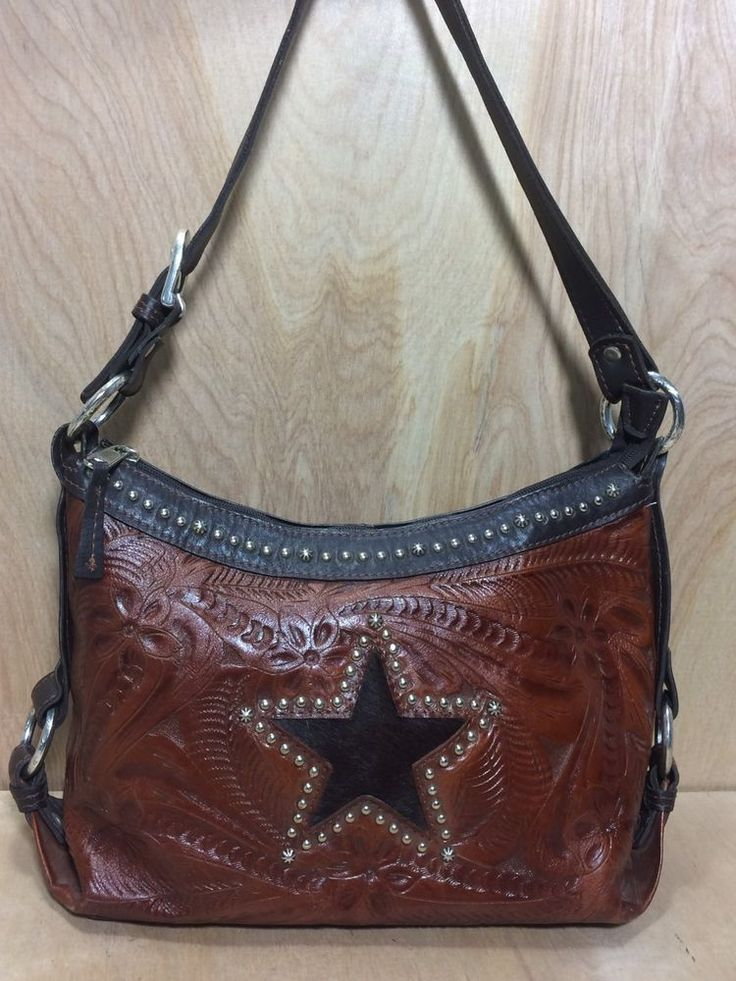 American West Hand Tooled Brown Leather Handbag Pony Hair Star Studded Purse