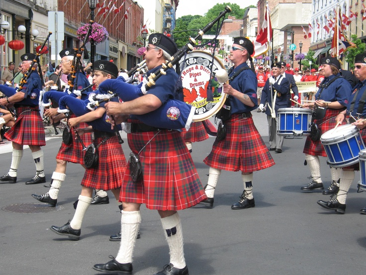 The Port Hope & District Pipe Band lead our famous Canada Day parade