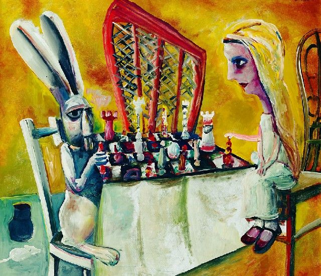 Charles Blackman- The game of chess (1956) Alice series