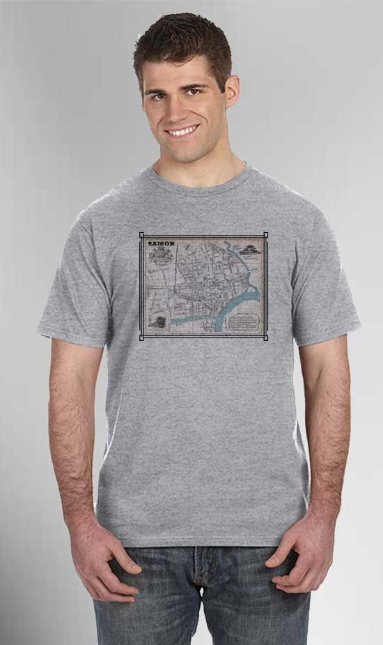 Saigon Map with Blue River Performance T-Shirt. These good looking performance T-shirts will keep you cool and dry as they are made from moisture wicking polyester but amazingly feel like cotton. Our printing technology means quality as the imagery will never crack, peel, unravel or fade over time.  *Our Wicking Fabric Feels Like Cotton but Dries 4X Faster. T- Shirts are Designed, Printed & Heat Pressed in the United States-Fabric from China.Part of the VetFriends Exclusive Vietnam Maps…