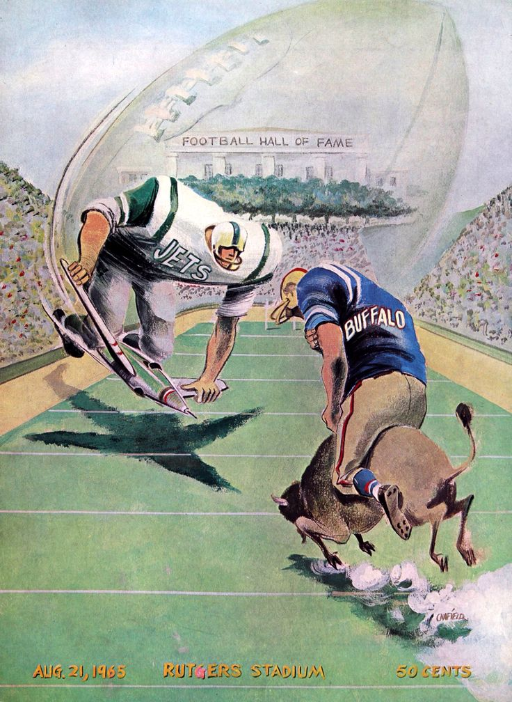 1965 New York Jets vs. Buffalo Bills, Rutgers Stadium Preseason Hall of Fame Game Program cover art by Canfield