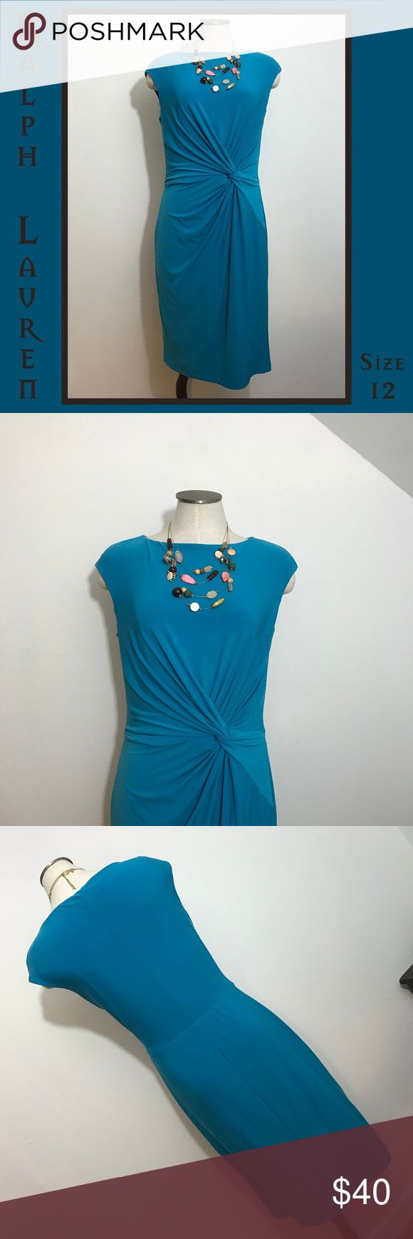 "🐣 Ralph Lauren Blue Knot Tie Dress 12 Large I love the flattering lines of this cute ""knotty"" dress by Lauren Ralph Lauren. It is in EUC and ready to join your wardrobe.  Measurements:  -Armpit-to-armpit: 18.25"" -Length: 40""  From a smoke-free and happy-to-bundle closet.  The necklace is available in a separate listing.   No trades or transactions outside of Poshmark. [T0417-350] Lauren Ralph Lauren Dresses Midi"