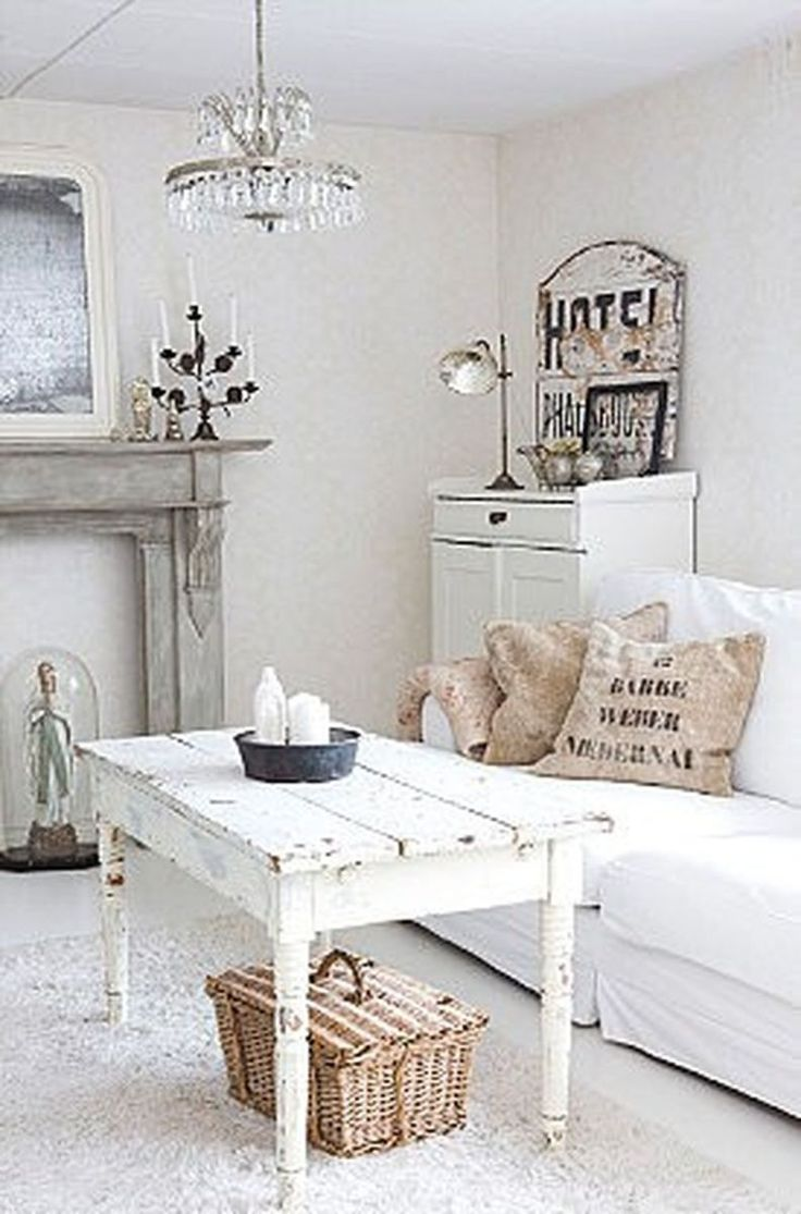 Beautiful White Shabby Chic Living Room Decoration Ideas 49