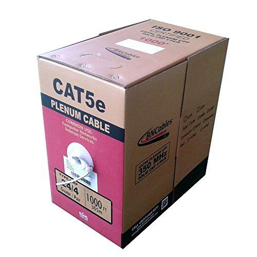 Superb Quality Cat5e Communications Plenum (CMP) 1000ft Networking Cable is perfect for longer run installation, 24 American Wire Gauge (AWG) Cat5e Plenum has 4 Solid unshielded twisted pairs and 8 conductors with bandwidth speed up-to 350MHz, Sequen