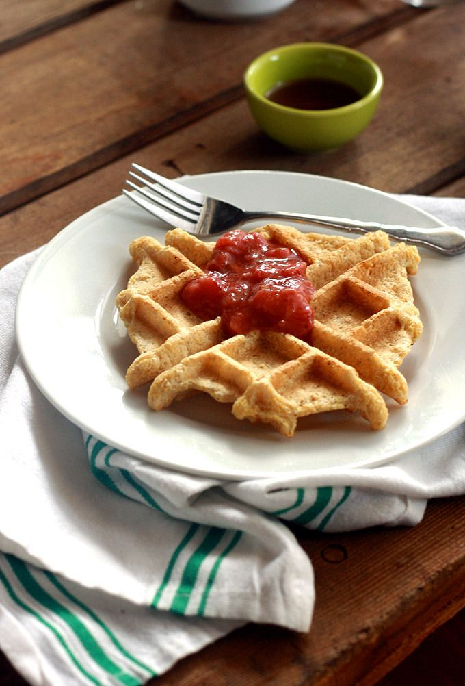 Vegan Cornmeal Waffle with Strawberry Rhubarb Ginger Compote | love me, feed me