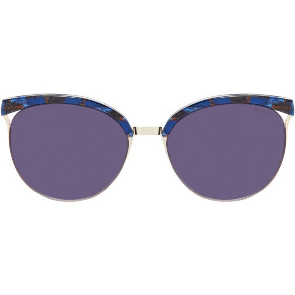 Balmain Women's Retro Round Frame - Dark Blue/Navy ($89) ❤ liked on Polyvore featuring accessories, eyewear, sunglasses, balmain glasses, round lens sunglasses, retro style sunglasses, tinted glasses and round sunglasses