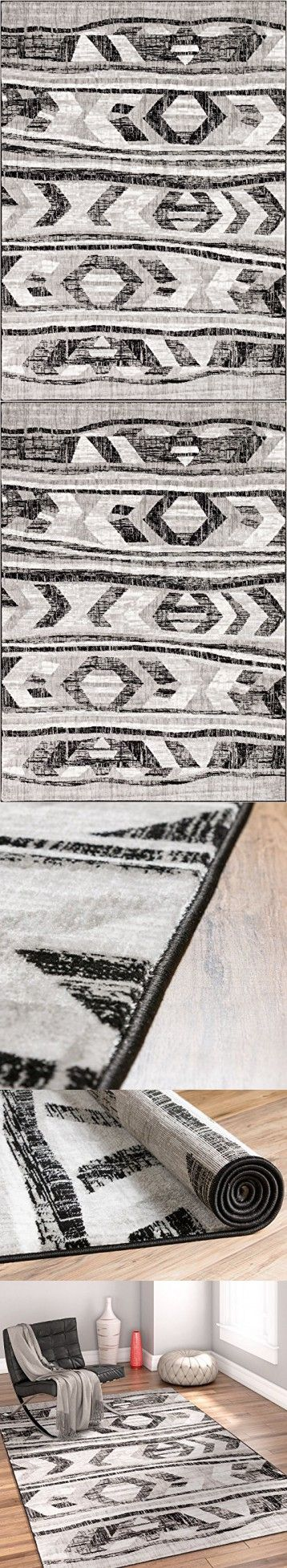 "Bright Moon Grey Southwestern Modern Tribal Lines 5 x 7 (5'3"" x 7'3"" ) Area Rug Easy Clean Stain Fade Resistant Shed Free Contemporary Thick Soft Plush Living Room Rug"