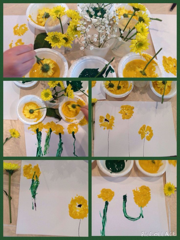 Painting flowers and three year olds
