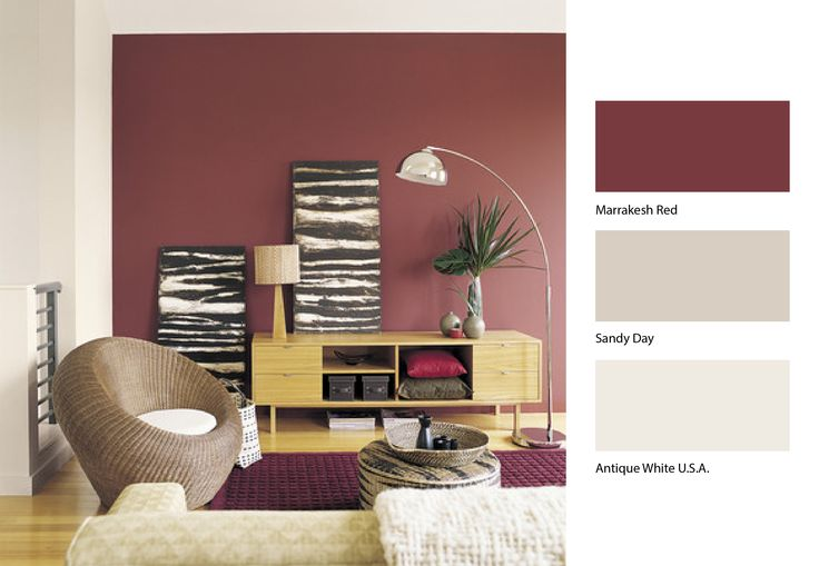 Looking for a killer combination for your living room. May we suggest Dulux Marrakesh Red and Dulux Sandy Day... #Dulux #Paint