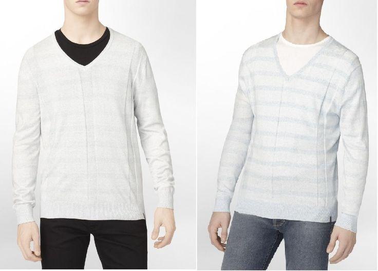 Calvin Klein men's sweater striped v-neck multi cotton rayon size L, XL, 2XL NEW #CalvinKlein #VNeck
