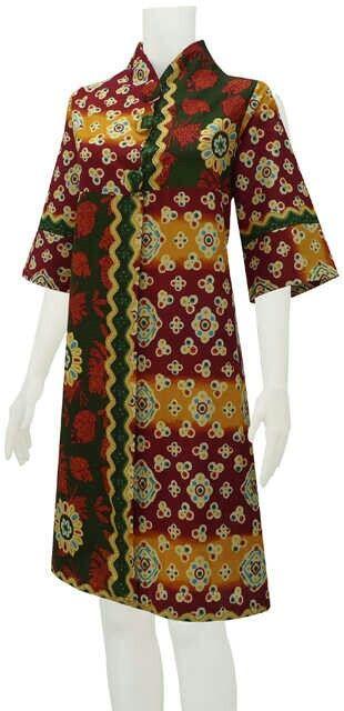Tunik Dress Amalia Motif Jumputan Bahan Katun Lingkar dada 110cm Panjang 100cm PIN BB 2BB291FD