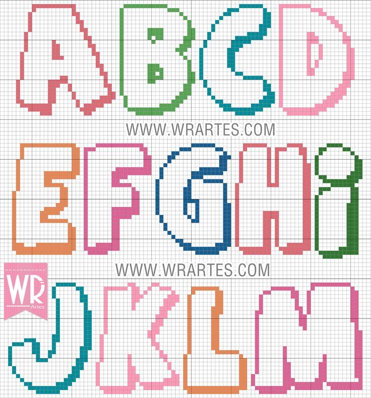 WR Artes (Blog do Wagner Reis): Gráfico alfabeto infantil colorido para ponto cruz...
