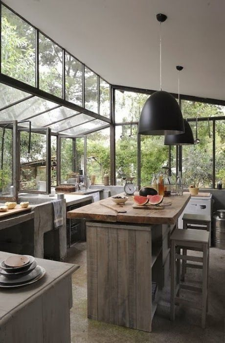 - kitchen design. industrial. bohemian. monochrome. neutral. renovation idea inspiration. home. window. nature. (not mine)