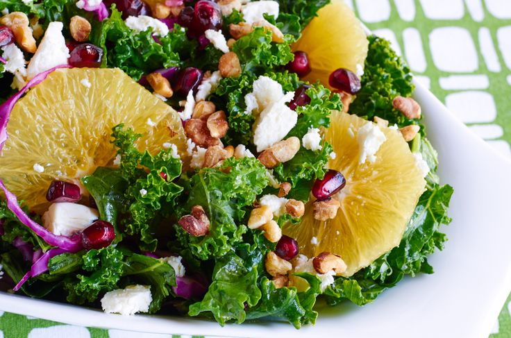 Citrus Kale Salad-- Our zesty kale salad uses sweet orange juice and a touch of vinegar to brighten the kale and relax it even further. For a complete meal, enjoy the salad with a serving of fish or chicken.