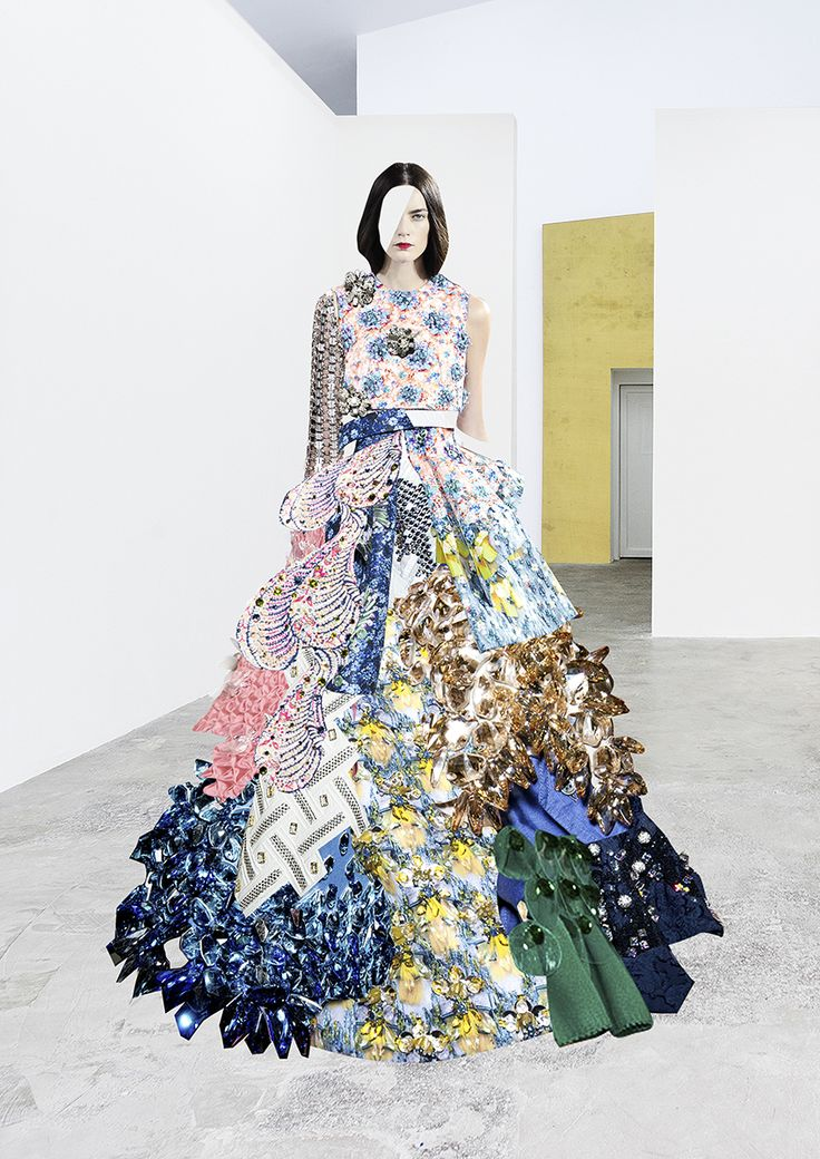 Collage dress created from SWAROVSKI's fashion collabs for SALT magazine