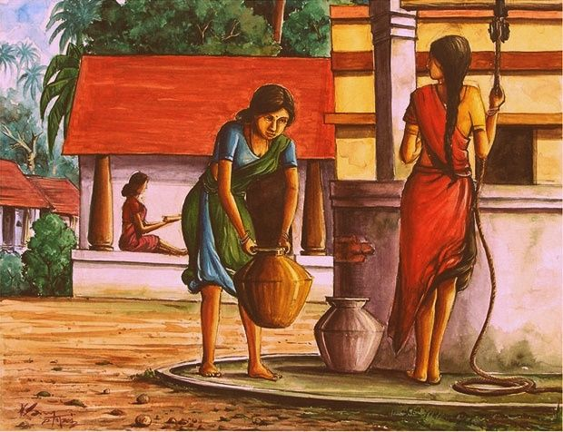 Village Woman Drawing Water River Of Life Pinterest