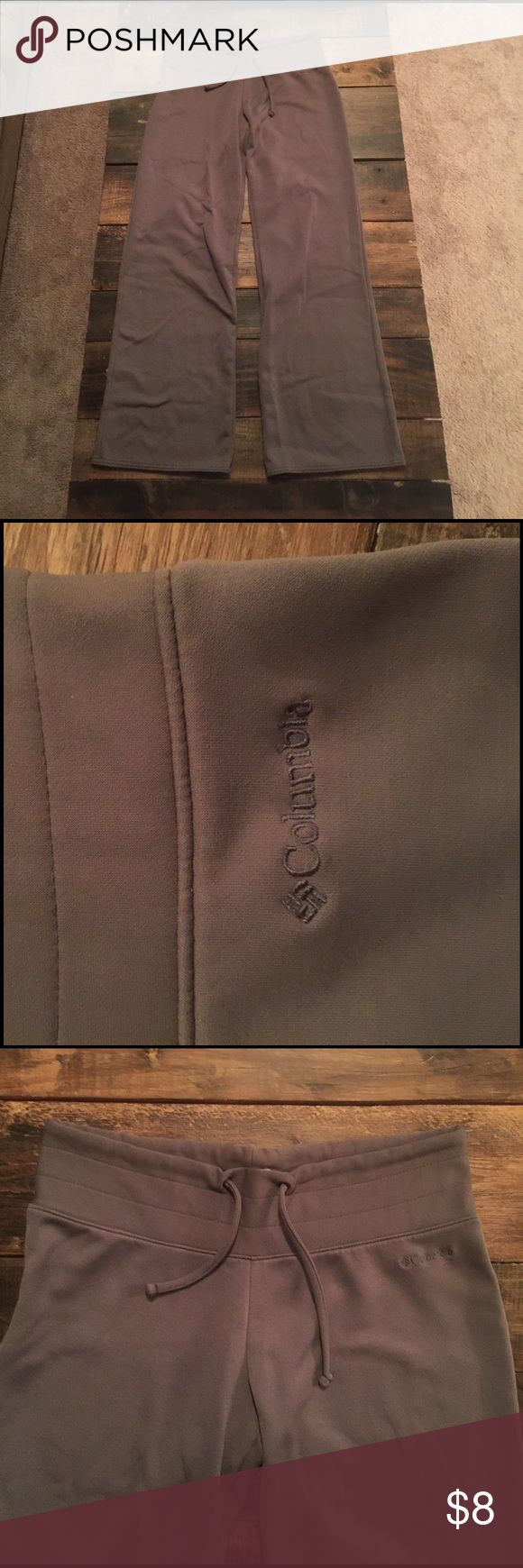 "Columbia Sweatpants These are grey Columbia Titanium sweatpants. They are a women's ""m short"". The material is 56% polyamide, 36% Polyester, 8% elastic. I'm not sure how many times they have been worn because my mom gave them to me. I have not ever worn them tho. they are super soft and in good condition. Columbia Pants Track Pants & Joggers"