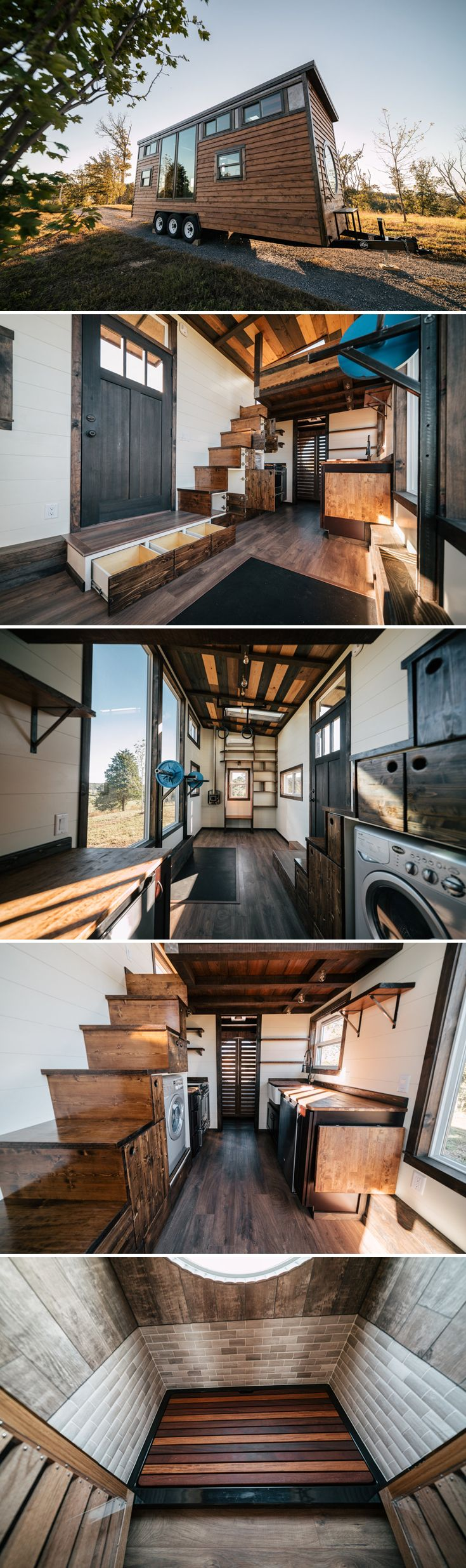 Designed to take full advantage of panoramic views, the The Silhouette by Wind River Tiny Homes has two large fixed windows and an oversized round window.