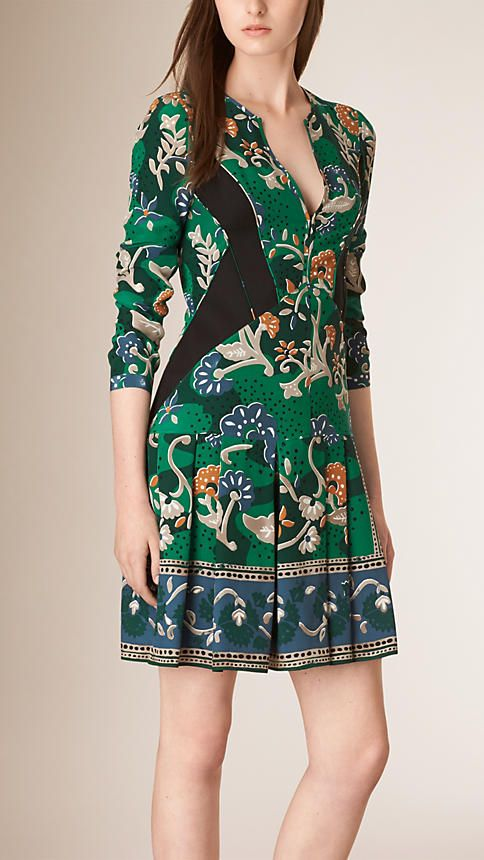 Teal Floral Print Silk Dress - Burberry Prorsum