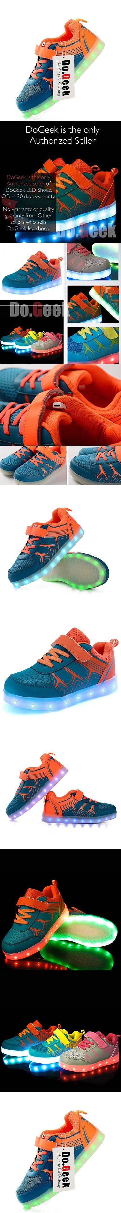 DoGeek LED Light Up Shoes Boys Girls Kids Sneakers 7 Color Light (Choose Half Size Up)