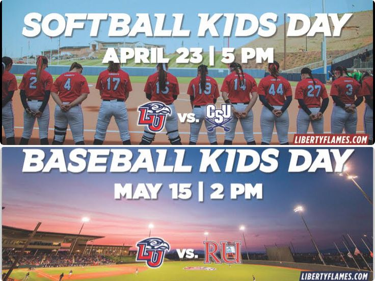Softball Kids Day- April 23 vs. Charleston Southern - 5 p.m.  Kid's Day! Calling all Flames Kids to join the fun at Liberty Softball! We'll have inflatables, make-your-own poster station, and 1 lucky Flames Kid will get the chance to announce a half inning during the game! • Buy One, Get One Free Popcorn Buckets • Sodexo Concessions Special: Flaming Eagle Chicken Sandwich • Post-game Fireworks Show! Presented by Perry Pools & Spas Baseball Kid's Day- Sunday, May 15th vs. Radford at 2 p.m…